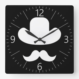 Moustache and hat wall clocks