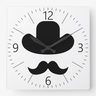 Moustache and hat wallclocks