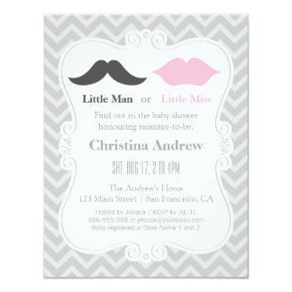 Moustache and Lips Grey Gender Reveal Baby Shower 11 Cm X 14 Cm Invitation Card