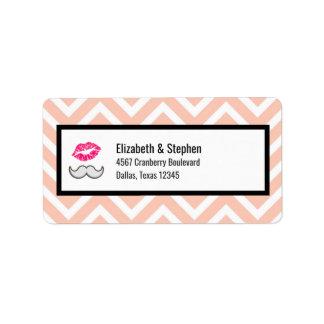 Moustache and Lips on Peach Chevron Wedding Label