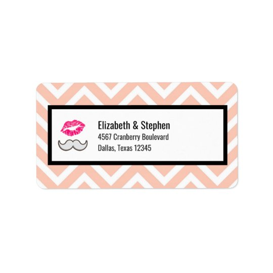 Moustache and Lips on Peach Chevron Wedding Label