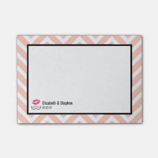 Moustache and Lips on Peach Chevron Wedding Post-it Notes