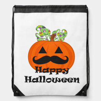 Moustache Halloween Drawstring Bag
