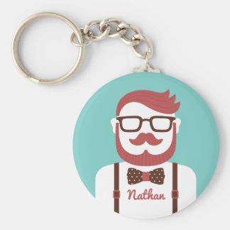 Moustache Hipster Gentleman His Keychain