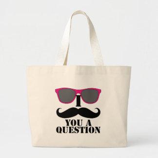 Moustache Humor with Pink Sunglasses Jumbo Tote Bag