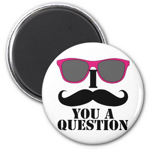 Moustache Humor with Pink Sunglasses Refrigerator Magnets