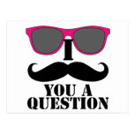 Moustache Humour with Pink Sunglasses Postcard