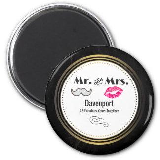 Moustache & Lips Mr. & Mrs. - Anniversary Magnet