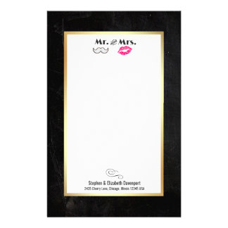 Moustache & Lips Mr. & Mrs. Black and Gold Stationery