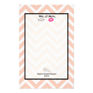 Moustache & Lips Mr. & Mrs. Peach Chevron Wedding Stationery