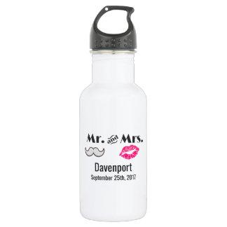 Moustache & Lips Mr. & Mrs. Wedding 532 Ml Water Bottle