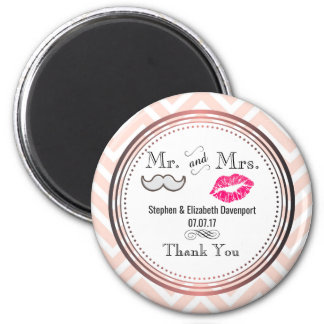 Moustache & Lips Mr. & Mrs. Wedding Thank You 6 Cm Round Magnet