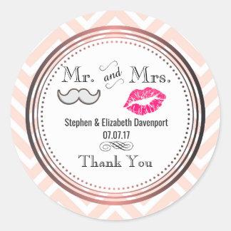 Moustache & Lips Mr. & Mrs. Wedding Thank You Classic Round Sticker