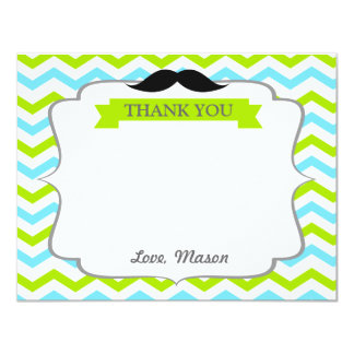 Moustache Little Man Thank You Card 11 Cm X 14 Cm Invitation Card