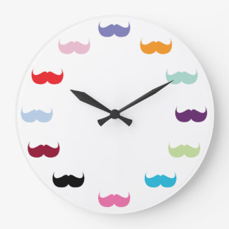 Moustache Love Large Clock