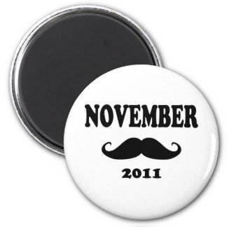 Moustache November 2011 6 Cm Round Magnet