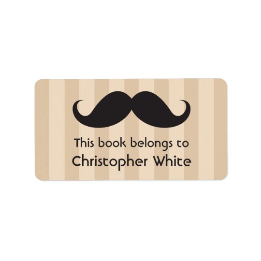 Moustache on brown stripes bookplates / book address label