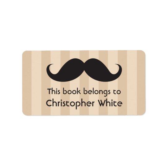 Moustache on brown stripes bookplates / book label