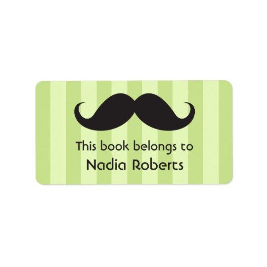 Moustache on green stripes bookplates / book address label