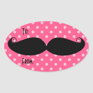 Moustache Oval Stickers