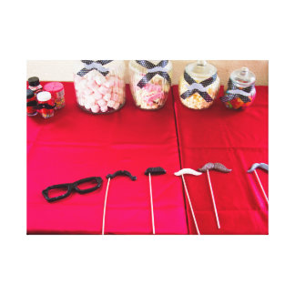 Moustache Party And Lollies Wrapped Canvas