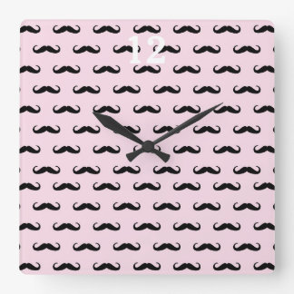 Moustache & pink one | clock square