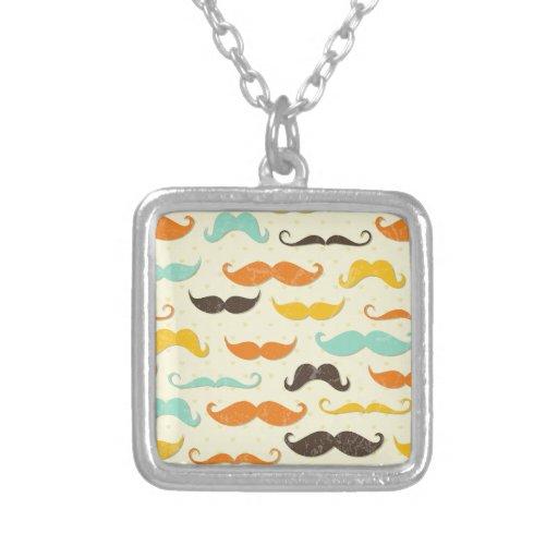 Moustache Print Vintage Orange Teal Little Man Necklaces