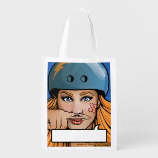 Moustache Roller Derby Girl Grocery Bag