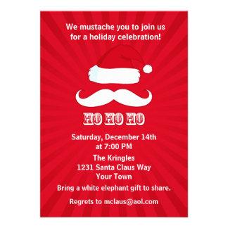 Moustache Santa Red Personalised Invitations