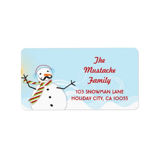 Moustache Snowman Christmas Holiday Address Labels