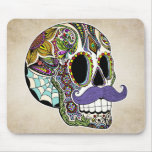 Moustache Sugar Skull Mousepad - Vintage Style