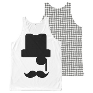 Moustache Top Hat Houndstooth Tank Top