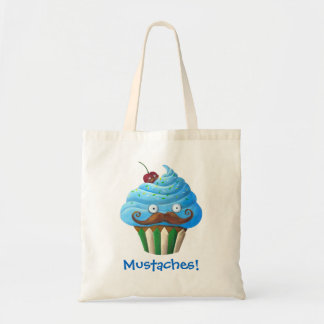 Moustached Cupcake Canvas Bags