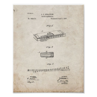 Mouth Harmonica Patent - Old Look Poster
