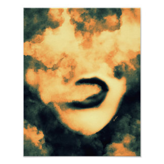 Mouth Smoke Vape Grunge Art Poster