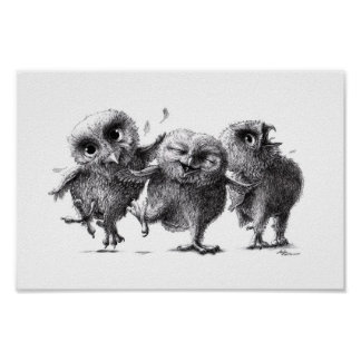 Moved owls - Crazy Owls Poster