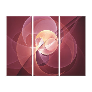 Movement Abstract Modern Wine Red Pink Triptych Canvas Print