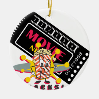 Movie and Popcorn Snacks Ceramic Ornament
