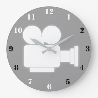 MOVIE CAMERA (BLACK AND WHITE NUMBERS) Wall Clock