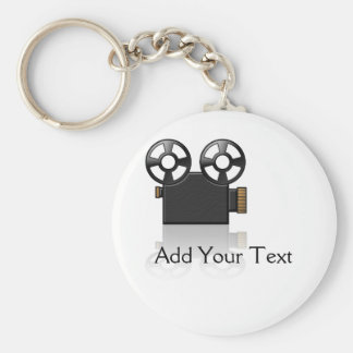Movie Camera in Black and Gold on White Key Ring