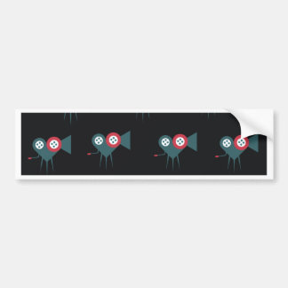 Movie camera in the shape of love heart rolling bumper sticker