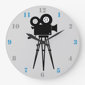 MOVIE CAMERA (WITH BLUE AND GRAY NUMBERS) WALL CLOCK