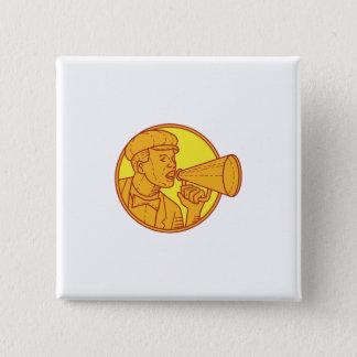 Movie Director Megaphone Vintage Circle Mono Line 15 Cm Square Badge