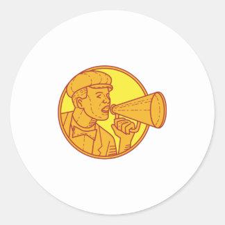 Movie Director Megaphone Vintage Circle Mono Line Classic Round Sticker