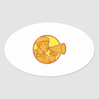 Movie Director Megaphone Vintage Circle Mono Line Oval Sticker