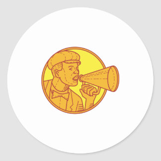 Movie Director Megaphone Vintage Circle Mono Line Round Sticker