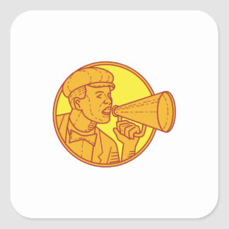 Movie Director Megaphone Vintage Circle Mono Line Square Sticker