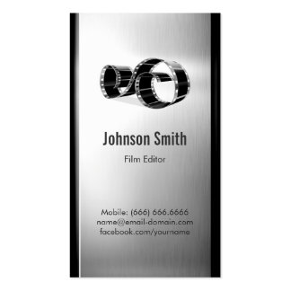 Movie Film Editor - Brushed Stainless Steel Metal Pack Of Standard Business Cards