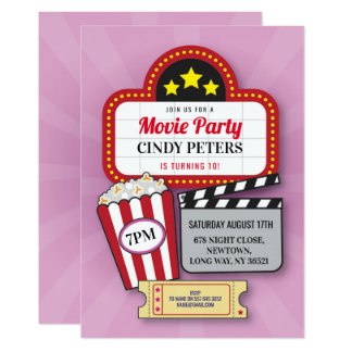 Movie Film Night Birthday Party Any Age Cinema Card