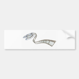 Movie film spooling out of film reel bumper stickers